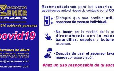 (COVID-19) Recomendaciones de uso del ascensor para evitar el riesgo de contagio