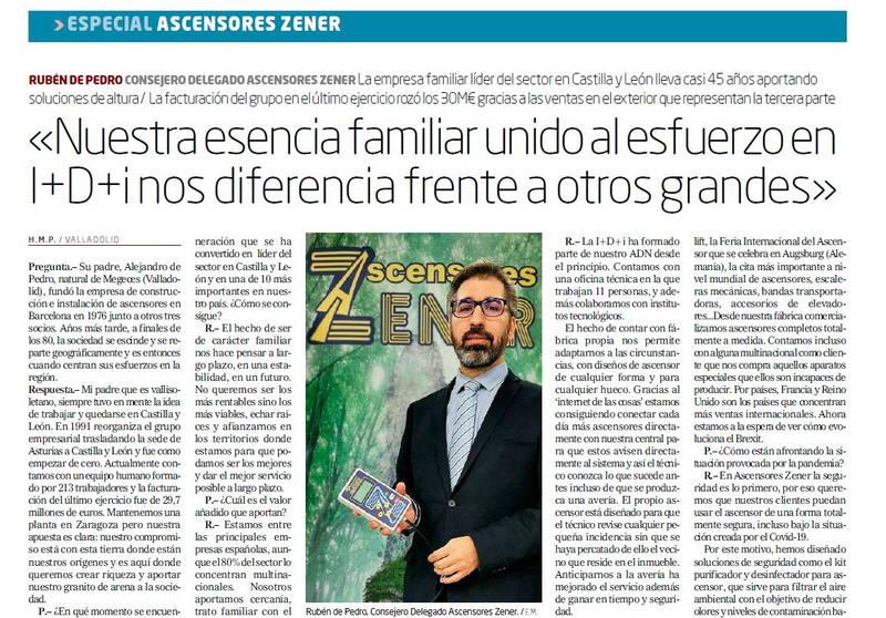 Ascensores Zener - Entrevista El Mundo (Octubre 2020)