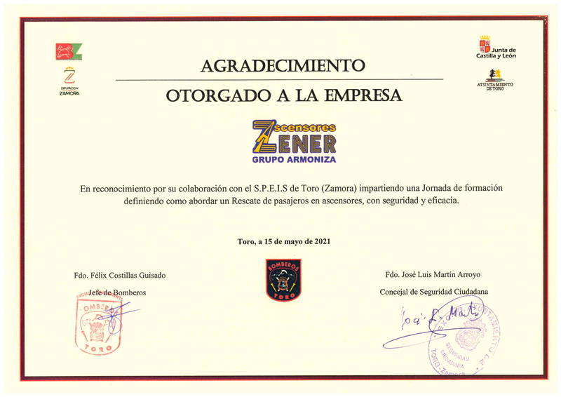 Agradecimiento de los bomberos de Toro a Ascensores Zener